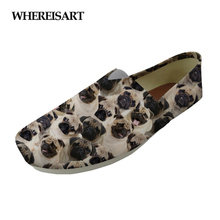 WHEREISART Canvas Flats Women Casual Shoes Womens Cute Animal Pug Dog 3D Print Sneakers Light Weight Lady Woman