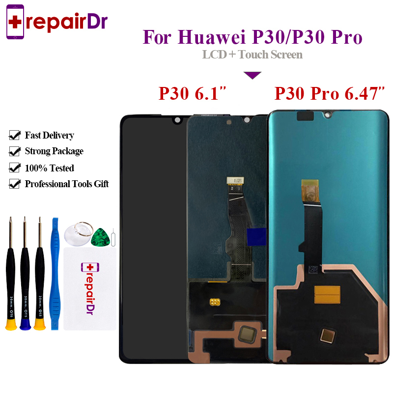 Original For Huawei <font><b>P30</b></font> <font><b>LCD</b></font> Display Touch Screen Digitizer Assembly ELE-L29 Tested For Huawei <font><b>P30</b></font> Pro <font><b>Lcd</b></font> Screen VOG-L29 VOG-L09 image
