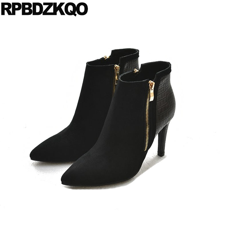 Stiletto Pointy Autumn Fashion Pointed High Heel Side Zip Boots Booties Genuine Leather Short Black Snake Shoes Suede Snakeskin front lace up casual ankle boots autumn vintage brown new booties flat genuine leather suede shoes round toe fall female fashion
