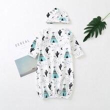 Детские платья, одежда для сна с рисунком для новорожденных девочек и мальчиков, хлопковая одежда для сна, Бальные халаты, одежда с шапочкой