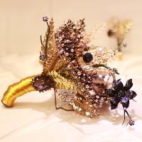 ramo de novia Vintage Black Gold Wedding Bouquet Crown Style Bride Bouquet Brooch Accessories Bridal Holding Flower