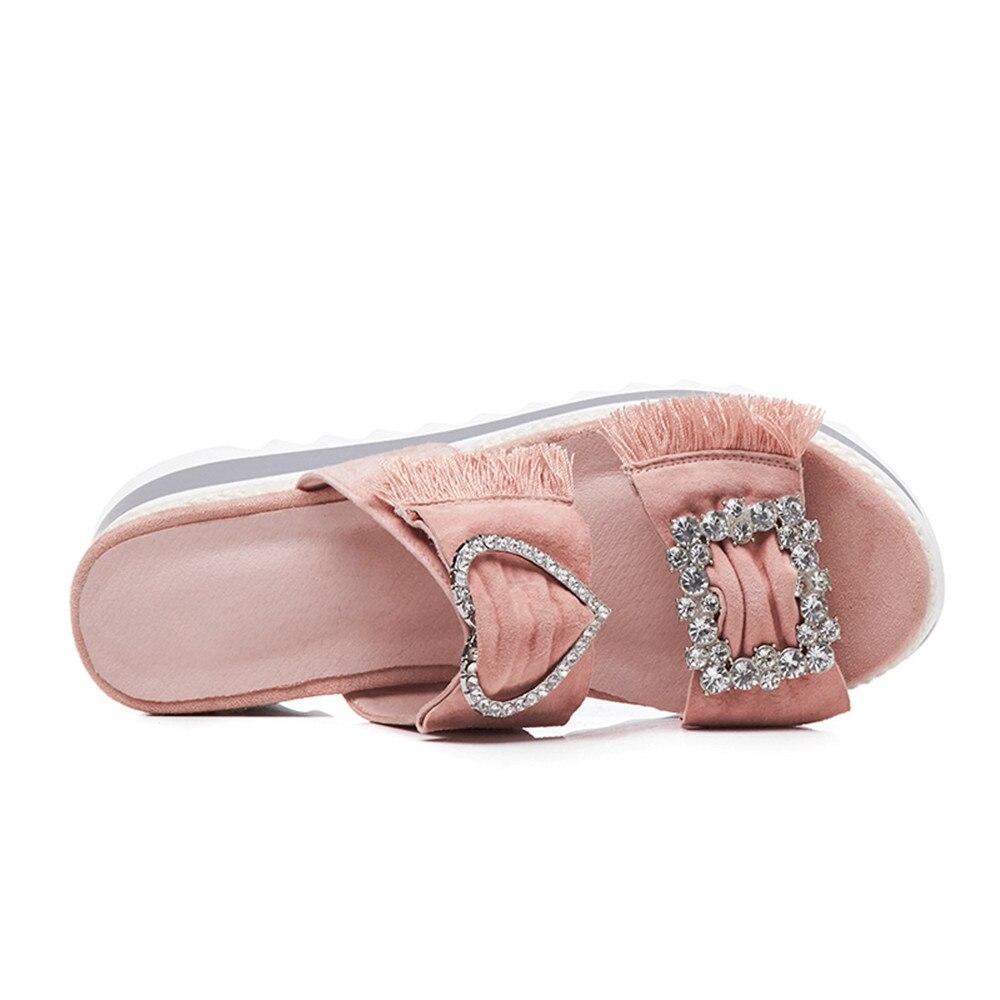 Mujer Casual Nuevos Zapatos Negro Smirnova Rosa Bowknot Suede Cuero Negro Verano Sandalias Mujeres Plataforma rosado Cómoda nYFnXq