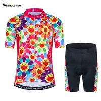 Kids Cycling Clothing Children Bike Jersey Shorts sets Bicycle Top Ropa Ciclismo Girl Boy mtb Shirts Suit Pink S XXL
