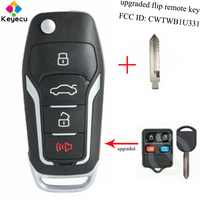 KEYECU Replacement Upgraded Flip Remote Control Car Key With 4 Button & 315MHz & 4D63 80 BIT Chip FOB for Ford FCC: CWTWB1U331