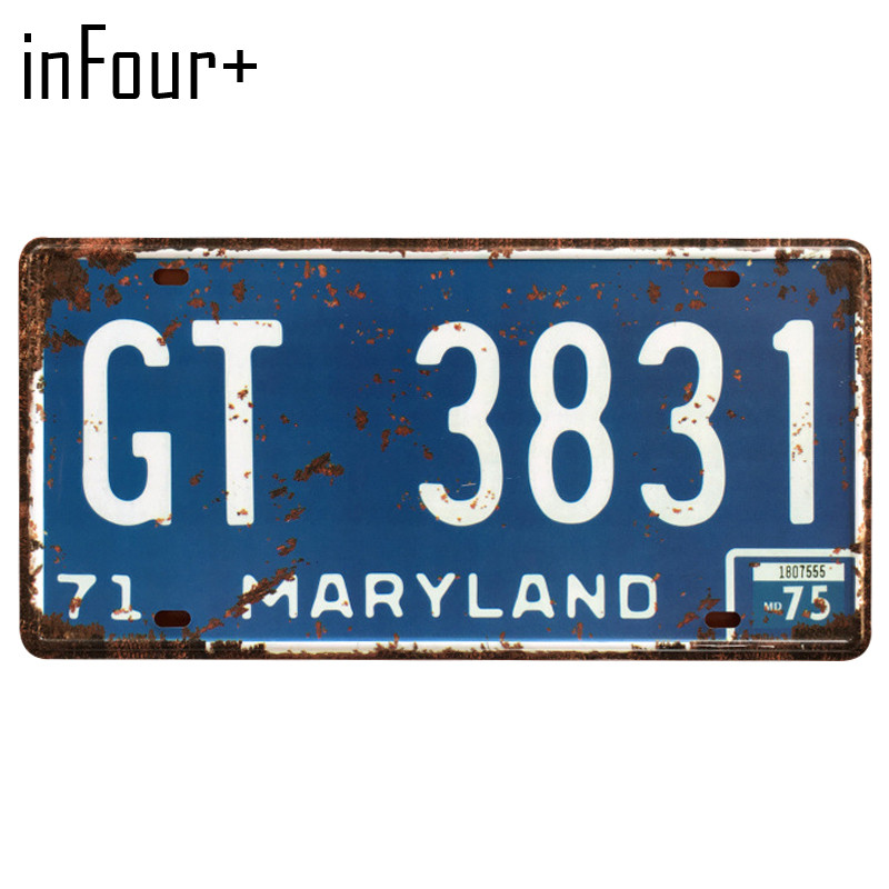 [inFour+] GT-3831 License Plate Metal Plate Car Number Tin Sign Bar Pub Cafe Home Decor Metal Sign Garage Painting Plaques Signs