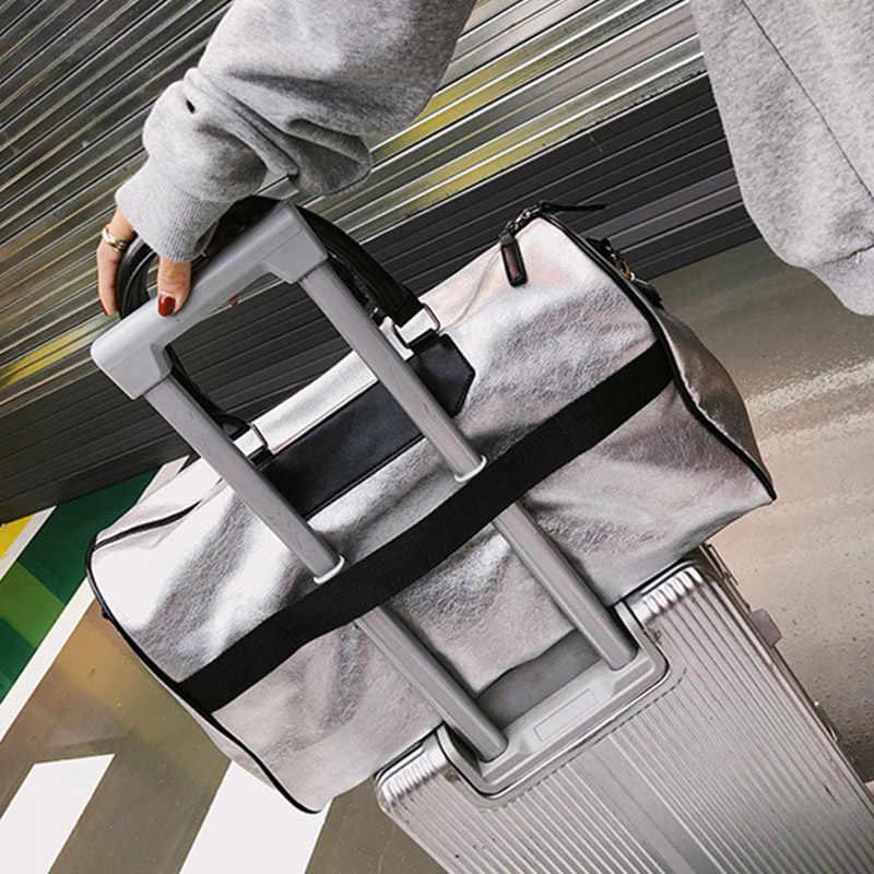 الفضة الرياضة حقيبة سيدة الأمتعة حقيبة في حقائب السفر مع علامة القماش الخشن حقيبة قاعة رياضة جلد النساء اليوغا اللياقة البدنية كيس دي الرياضة كبيرة XA806WD
