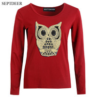 SEPTDEER Europe And America Big Size Women Shirt Tee Embroidered Owl Long Sleeve Autumn T Shirt