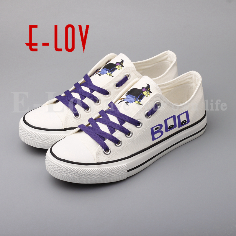E-LOV Brand Halloween Party Casual Shoes Printed Witches Low Top Women Canvas Shoes Happy Halloween Gifts e lov women casual walking shoes graffiti aries horoscope canvas shoe low top flat oxford shoes for couples lovers
