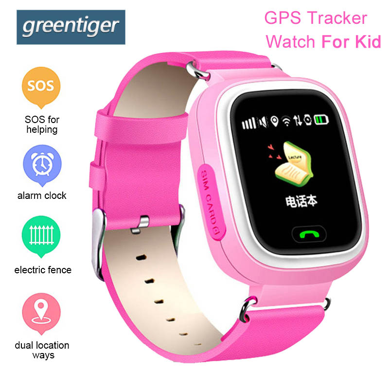 Greentiger Q90 Child Smart Watch GPS Baby Anti-lost Watch Device Tracker Touch Screen SOS Call Location Safe Monitor VS Q50 цена