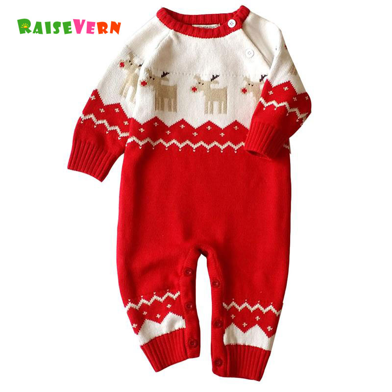 2017 Christmas Deer Autumn Newborn Infant Baby Girl Boys Long Sleeve Romper Chidren Clothes Kid Knitted Jumpsuit Outfits Sweater baby clothing summer infant newborn baby romper short sleeve girl boys jumpsuit new born baby clothes