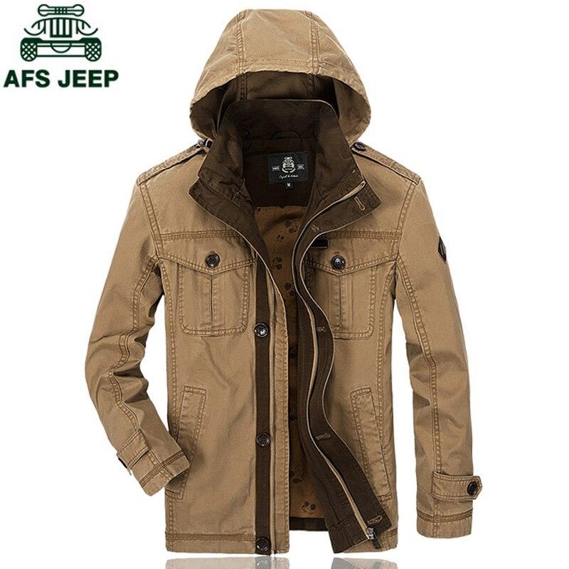 AFS JEEP Militaire de L'armée Marque Hommes de Veste Automne Hiver Hommes Veste Plus La Taille M-3XL jaqueta masculina Casual Veste À Capuche manteau