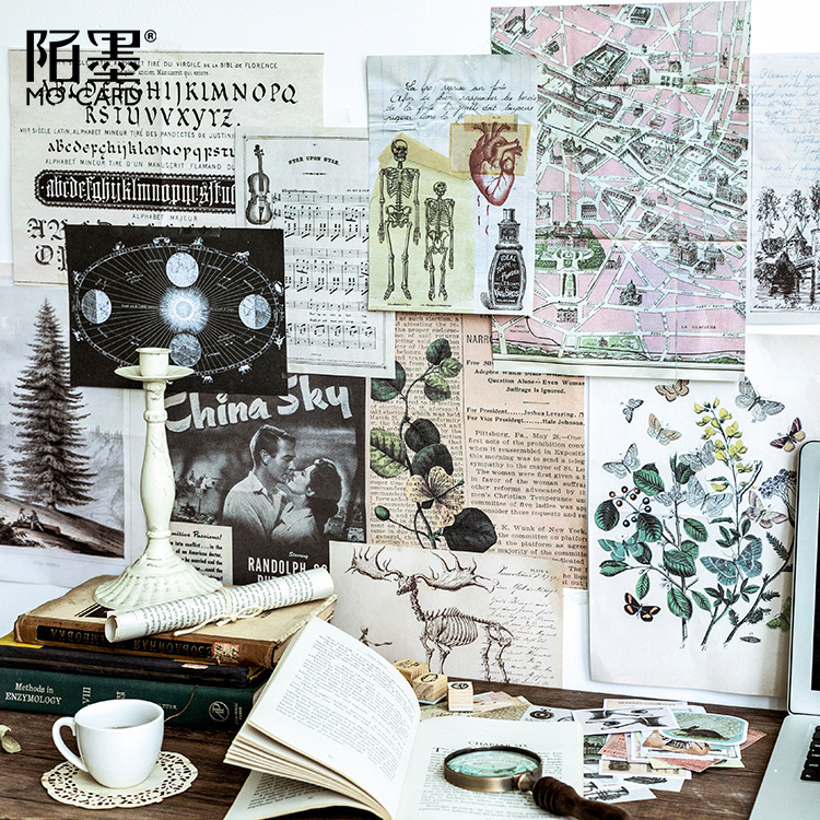 36pcs Vintage Printed Stickers Renaissance Decorative Stickers For Planner Scrapbooking Travelers Notebook Label Vintage Sticker christmas elk snowflakes printed wall stickers