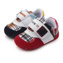 Новые Случайные Хлопка Плед Два Цвета Детские Baby Boy Впервые Уокер Обувь 0-12 Месяцев