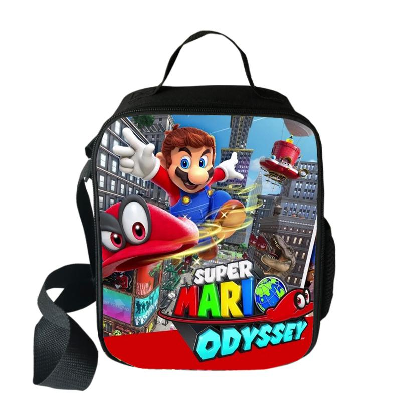 Mario Bros Sonic Cooler Lunch Bag Cartoon Girls Portable Thermal Food Picnic Bags For School Kids Boys Lunch Box Tote