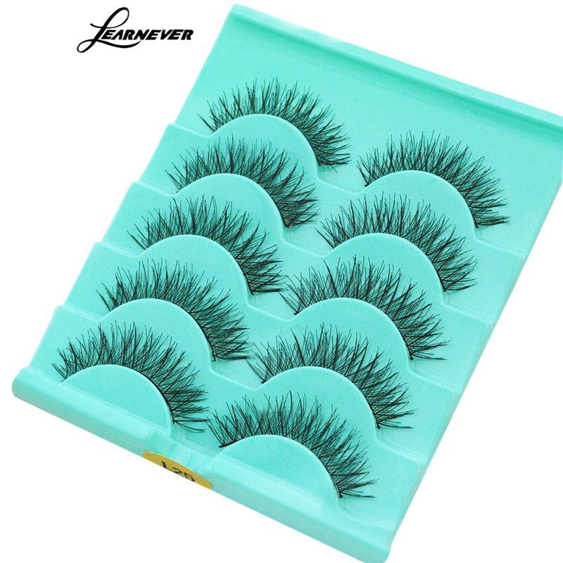 LEARNEVER 5 Pairs False Eyelashes 3d Thick Handmade Eye Lashes Long Black Natural Hand Made Eyelash Extension Women Beauty Tools