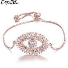 Pipitree роскошный большой сглаза браслет для женщин блестящий Принцесса огранка кубический циркон CZ браслеты и браслеты медные ювелирные изделия