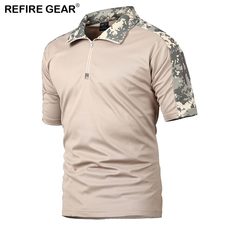 ReFire Gear Mens Outdoor Hiking T Shirt Summer Camping Camouflage T-shirt for Man Breathable Pocket Short Sleeve T Shirts