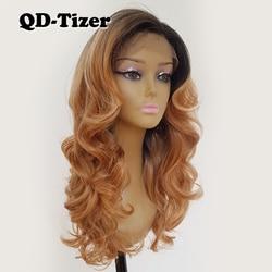 QD-Tizer Blonde Ombre Haar Body Wave Lace Front Pruiken Lijmloze 3 Kleur Side Deel Synthetische Lace Front Pruiken voor Zwarte Vrouwen