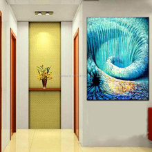 Hand painted modern picture seascape oil painting abstract blue wall Shoal of fish canvas art unique gift home decor