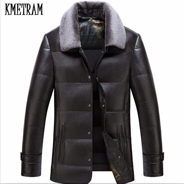 Kmetram 2018 Men S Winter Jacket Leather Jacket Fur Collar Faux