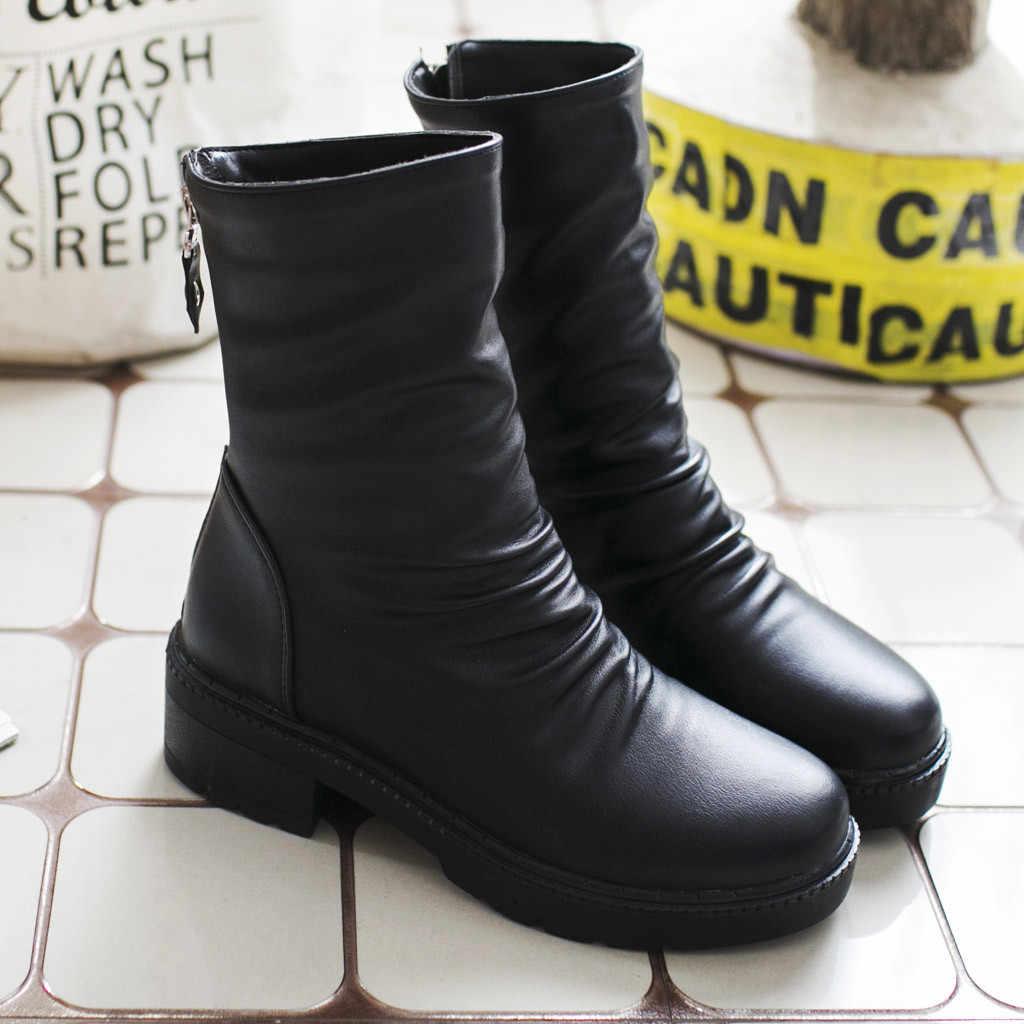 Damskie skórzane buty okrągłe głowy ciepłe wygodne botki damskie buty 2019 jesień rozrywka komfort buty