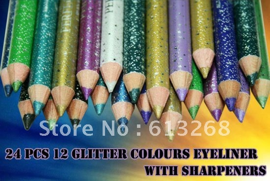 FREESHIPPING-24 PCS Glitter Eyeliners Eyeline Pencils With Sharpeners In 12 Colours