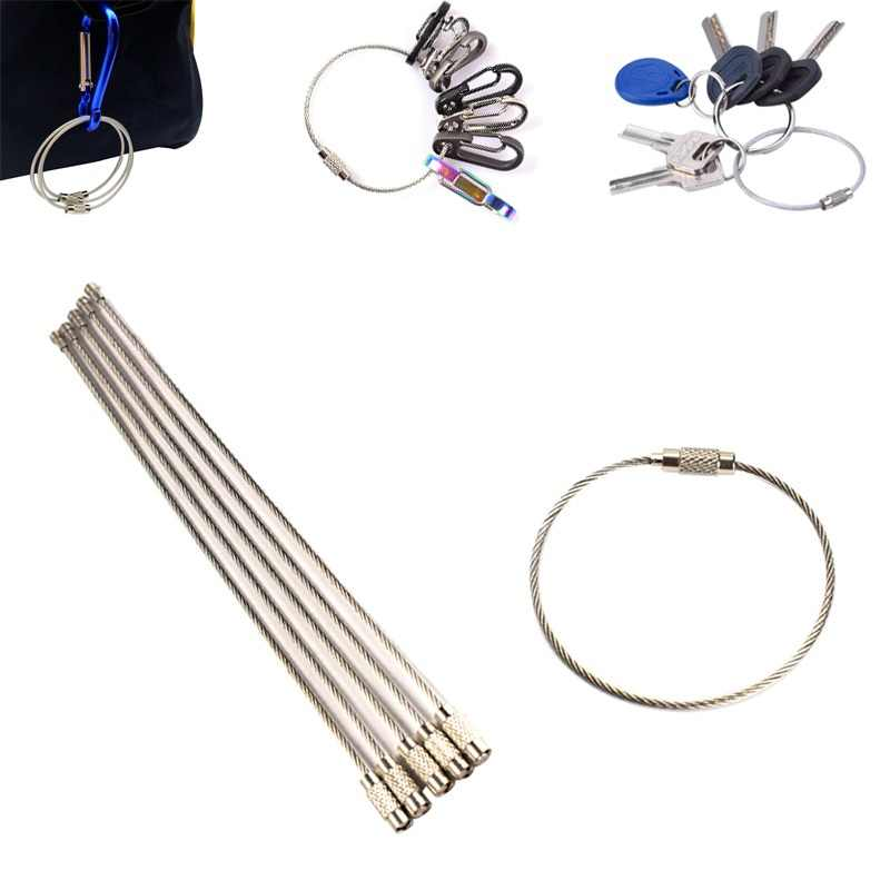 5Pcs EDC Stainless steel wire keychain ring key keyring circle rope cable loop outdoor camp luggage tag screw lock gadget