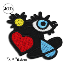 Red Heart Eye Size:8*6.5 DIY Iron on Cartoon Patch Embroidered Cute Badges Kids Patches for Clothes Stickers Badge JOD