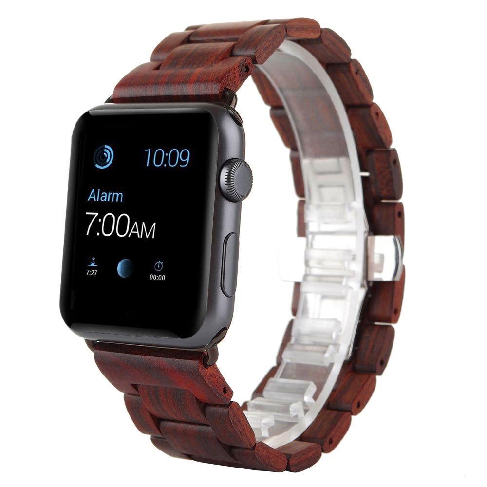 para apple pulseira de relógio de madeira