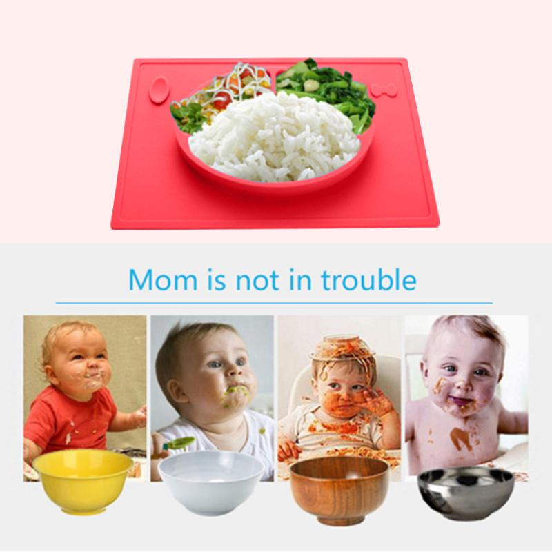 Hot Baby Silicone Smile Face Feeding Plate Food Grade Silicone Dinner Placemat Child Table Mat Pad Tableware Set