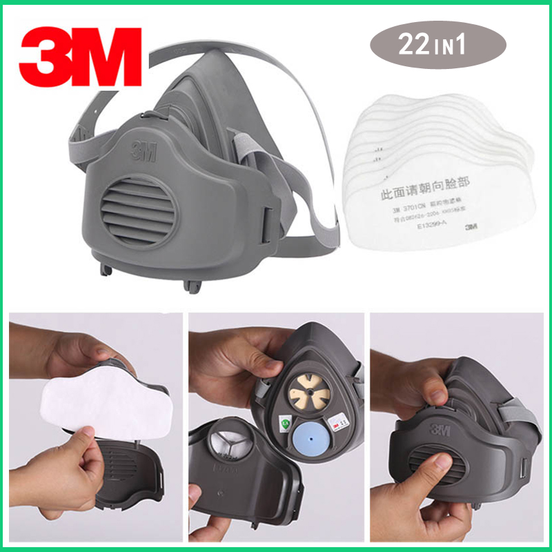 3M 3200 Half Face Dust Gas Mask With 20pcs Filters KN95 Respirator Safety Protective Mask Anti Dust Organic Vapors PM2.5 Fog