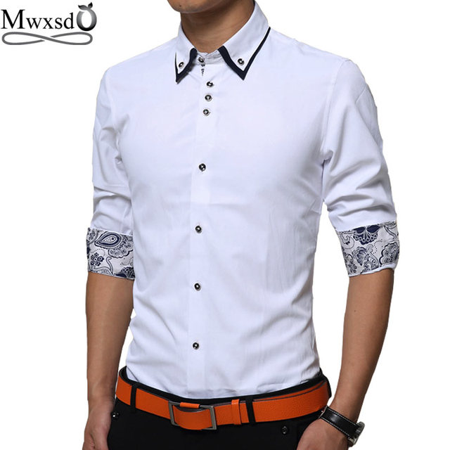 05bae8cfac2 Mwxsd brand men slim fit print Shirt top Mens Long Sleeve easy-care shirts  social