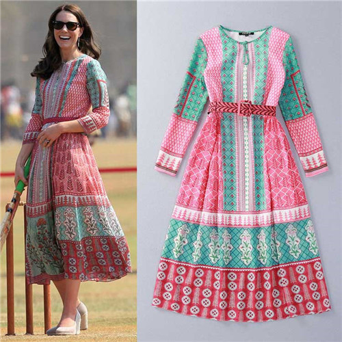 95c3cbcaeec9 2016 new spring summer floral print long sleeve multi color casual chiffon midi  dress white belt Kate Middleton in Indian tour