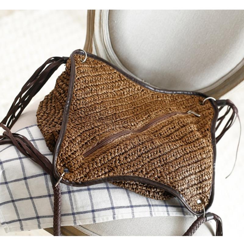 OCEHNUU Big Straw Beach Bags Women Handbags Summer Fashion Female 2020 Casual Women's Bags Shoulder Bag Tassel Zipper Bolsas 3