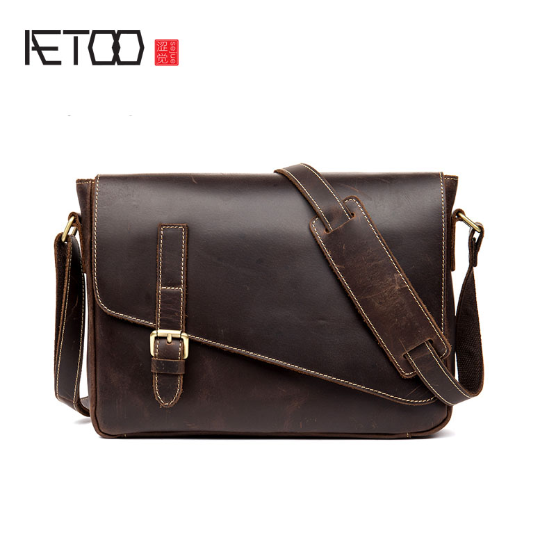 AETOO Men Business casual men bag handmade cowhide oblique bag bag leather shoulder bag head layer of leather men s leather oblique cross chest packs of the first layer of leather deer pattern men s shoulder bag korean fashion men s bag