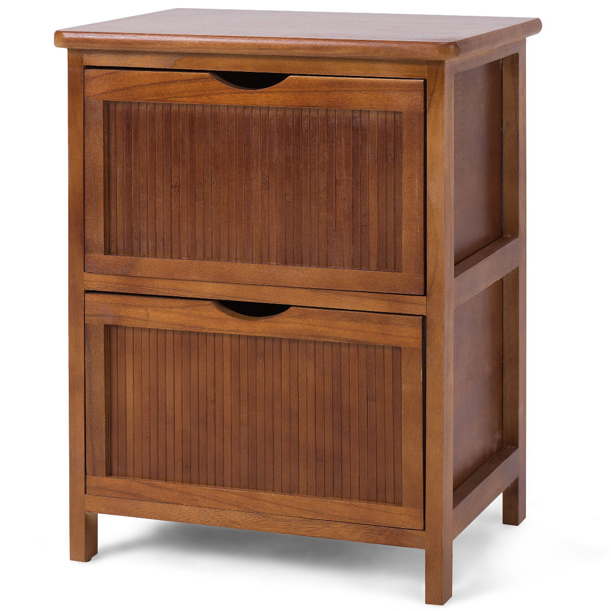 Giantex 2 Drawers Nightstand Contemporary Vintage Bedside Table Solid Wood End Table Bedroom Furniture HW57057