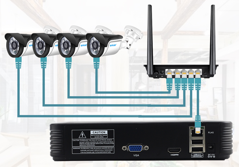Smar HD 4CH 1080P NVR CCTV Kit 4PCS 1MP1.3MP2MP Outdoor IP Camera Kit Home Security CCTV System HDMI P2P Email Alarm (5)