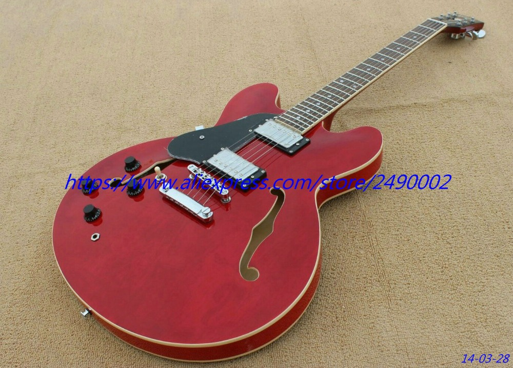 buy best electric guitar red hollow body jazz left hand chrome parts black. Black Bedroom Furniture Sets. Home Design Ideas
