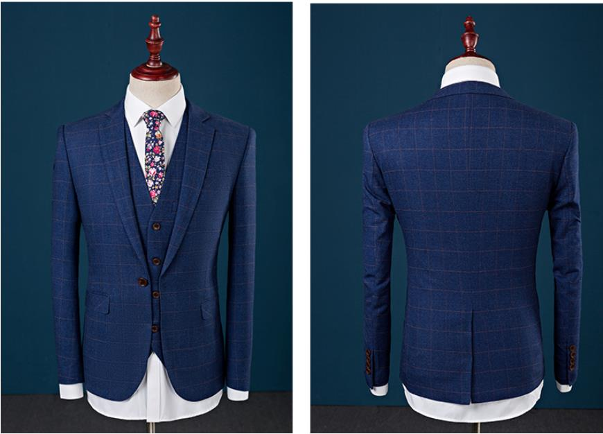 Suit Men's Grid Wool Suit Slim Fit Leisure Wedding Dress Suits Man Business Men Coat Blazers(Jacket+Pant+Vest)  Costume Homme