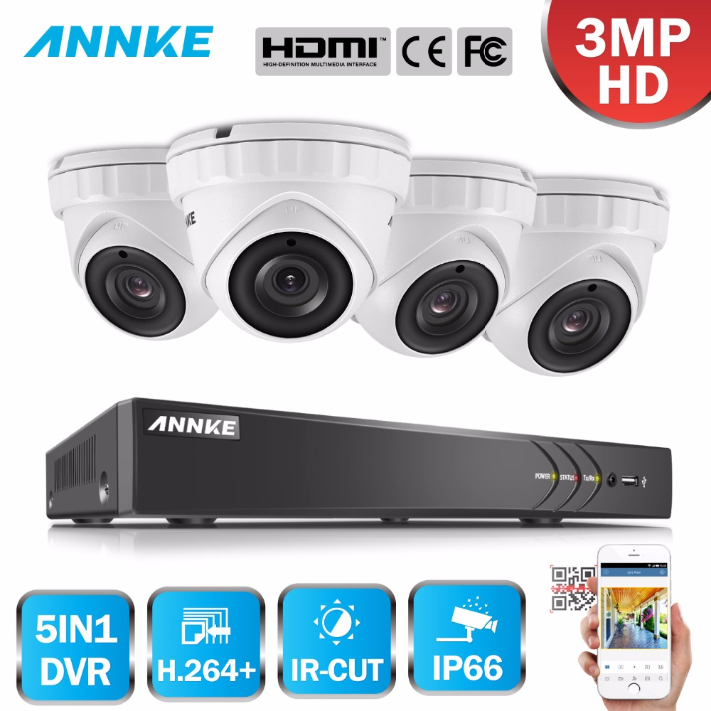 ANNKE 8CH 3MP 5in1 CCTV DVR HD 4PCS 2048 1536 TVI Security Camera Outdoor Dome Camera