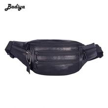 Fashion Genuine Leather Men Belt Bag Multiple Zipper Adjustable Waist Bag Bumbag Solid Fanny Packs Phone Money Pouch Male