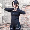 S-XL 2017 Negro Rosa Camisetas Mujer de Manga Larga de Fitness camiseta Mujer T Shirt Tee Shirt Femme Tapas de Compresión de Secado rápido