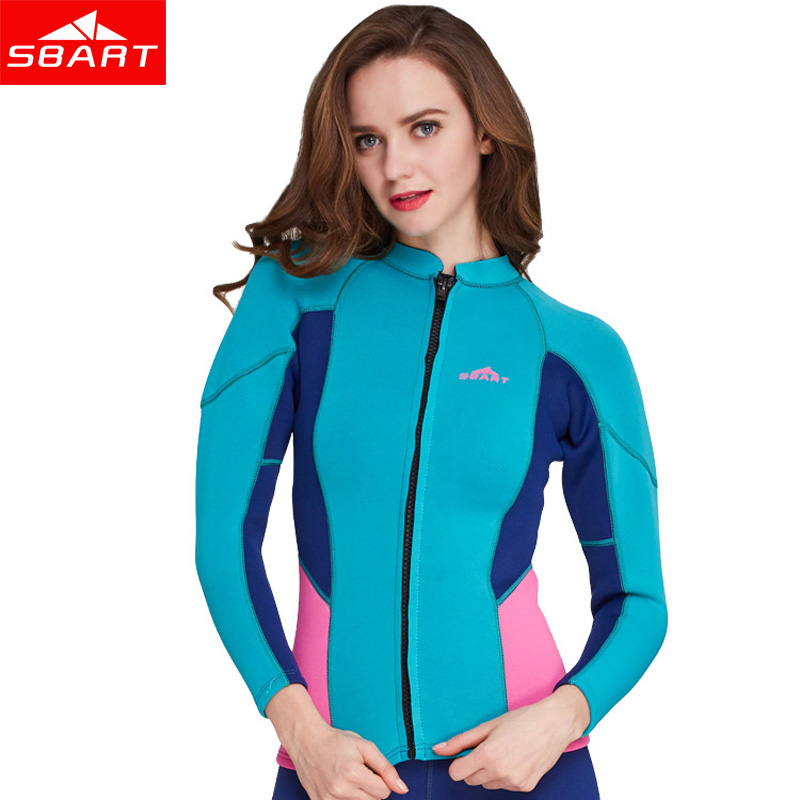 SBART 2MM Neoprene Long Sleeve Surfing Wetsuit tops Sunscreen Elastic Snorkeling Swimsuit Women winter warm Diving suits brunei english