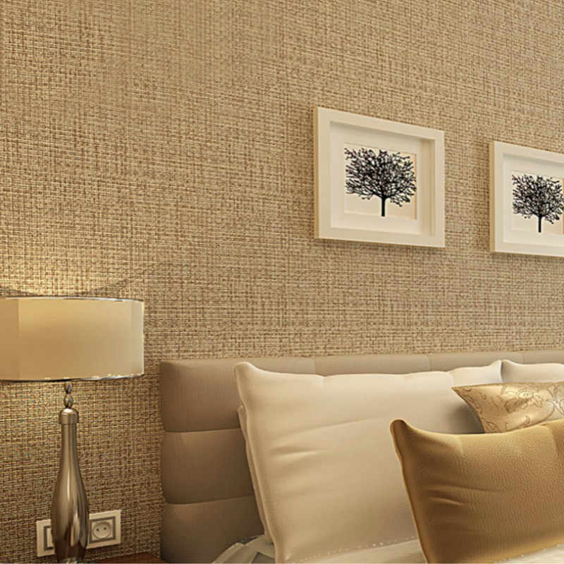 Rustic Straw Texture Pure Color Wallpaper Modern Simple
