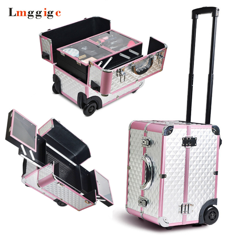 Makeup artist Box  Rolling Cosmetic Bags Wheel Make up Case Cabin Nails Toolbox  Beauty Suitcase  Aluminum frame + PVC Luggage Cosmetic Bags & Cases Luggage & Bags - title=