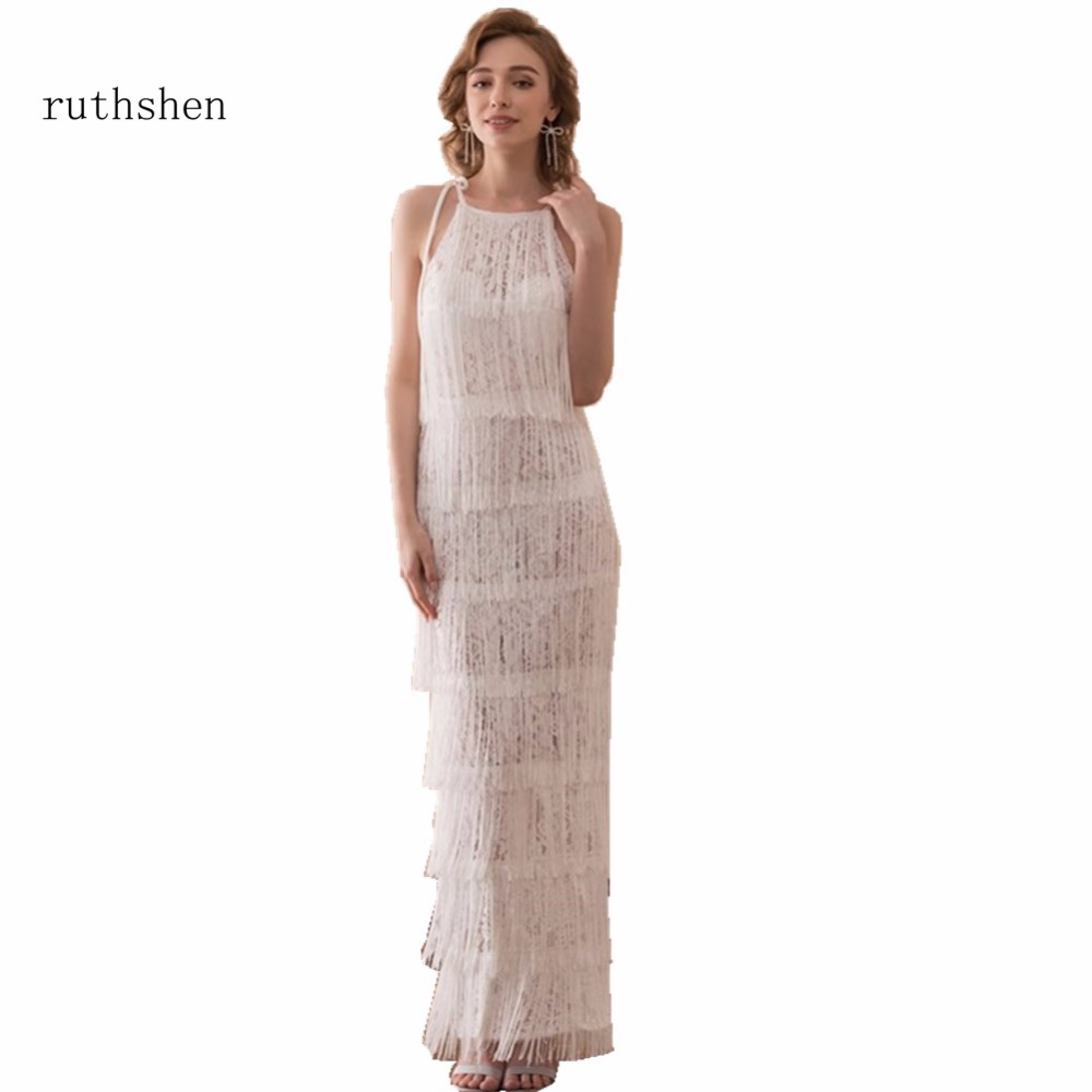 ruthshen Stunning Long Lace Prom Dresses Cheap 2018 Latest Tassel Design  Formal Party Dress Gowns For girls 36e2be04c4d6