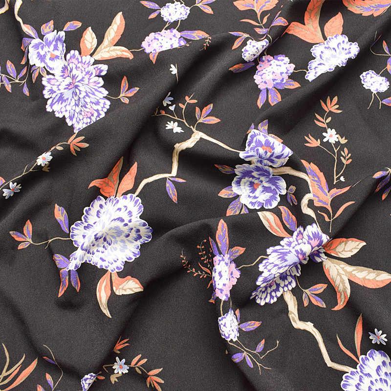 145x100 см импортный черный цветочный принт мягкий шифон для женщин длинное пляжное платье, рубашки шитье Тканевая Обивка