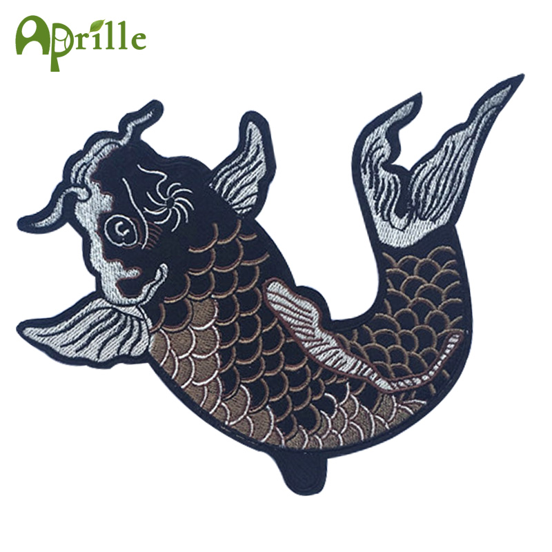 1pc Big Fish Embroidered Patches Iron on Clothing Application for Clothes Applique Diy Accessories Supplier Crafts Badge Sticker