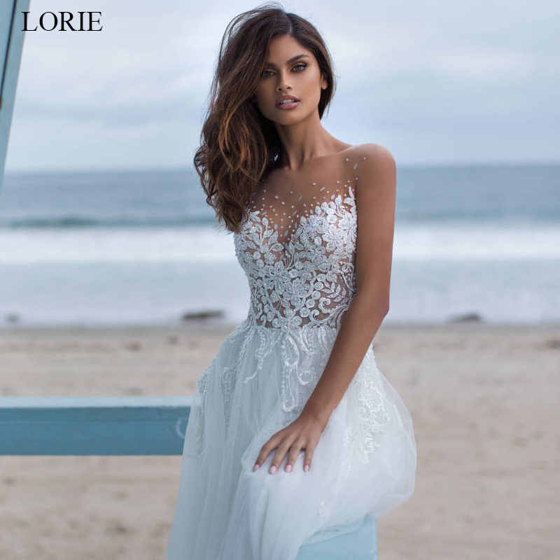 LORIE Ball Gown Wedding dress 2019 Tulle and Lace Bride dress White Ivory vestido de noiva summer Illusion Wedding dress in Wedding Dresses from Weddings Events