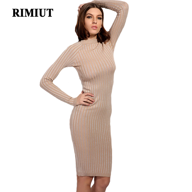 91b27f89345 Rimiut Autumn Winter Women Knitted Long Sleeve Sweater Dress Elastic Slim  Sexy Bodycon Black O Neck Party Fit Dresses vestidos